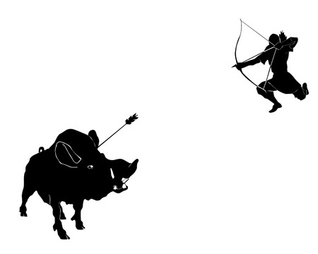 Hunting with onions on a wild wild boar on a white background Vector