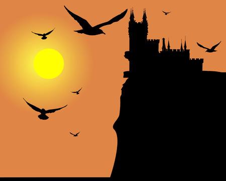 balcony view: Lock silhouette in Crimea Illustration