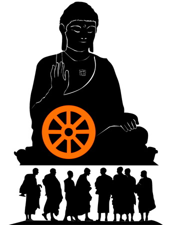 buddha head: Silhouette of a monument of the Buddha with group of monks