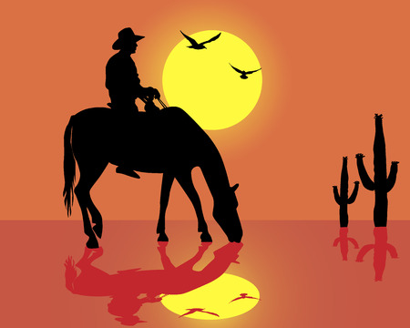 Silhouette of the cowboy on a horse in an orange background Vector