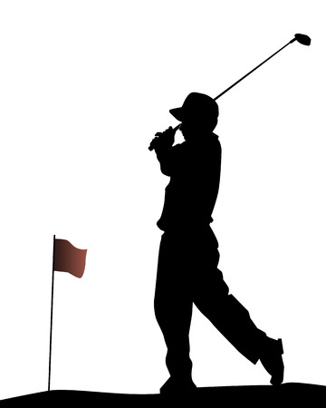 golf flag: Silhouette of the golfer on a white background
