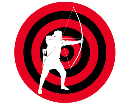allegoric: Silhouette shooting from onions against it is black a red target