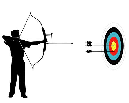 boogschutter: Sport scherpschutter uit uien op een doel op een witte achtergrond Stock Illustratie