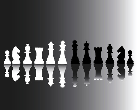 Black and white chessmen reflected in a grey background
