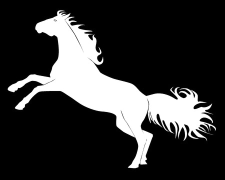 Black silhouette of a horse on a white background