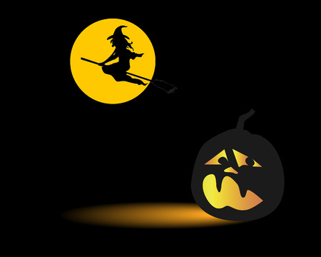 cauldron: Dark Halloween pumpkin and a flying witch on a broomstick on a black background