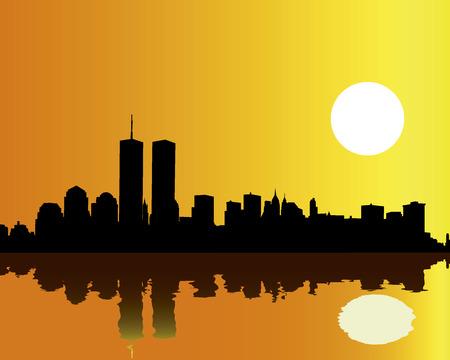 Torres gemelas contra el cielo naranja y la reflexión en el agua  Ilustración de vector