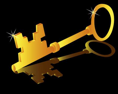 Gold ancient key on a black background Illustration