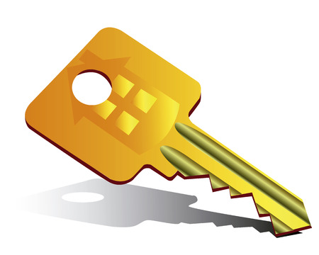 new opportunity: Golden flat key on a white background