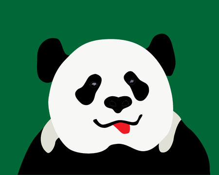 panda with a red tongue with a green background Vector