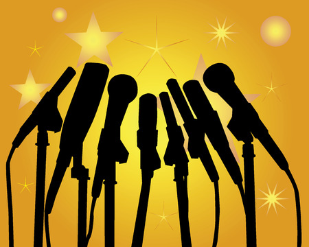 press conference: Black silhouettes of microphones on an orange background Illustration