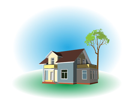 The house with a lonely tree on a green lawn on a blue background Stock Vector - 7821774
