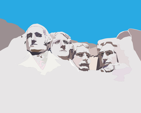 president of the usa: National memorial Mountain Rashmor against the blue sky Illustration