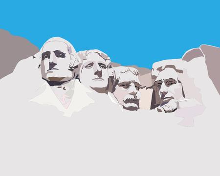 presidents': National memorial Mountain Rashmor against the blue sky Illustration
