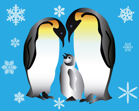 Two penguins and their cub on a blue background with snowflakes Иллюстрация
