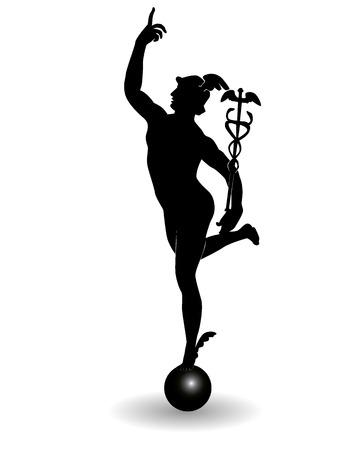 statue grecque: Le mercure est le Dieu du commerce sur un fond blanc
