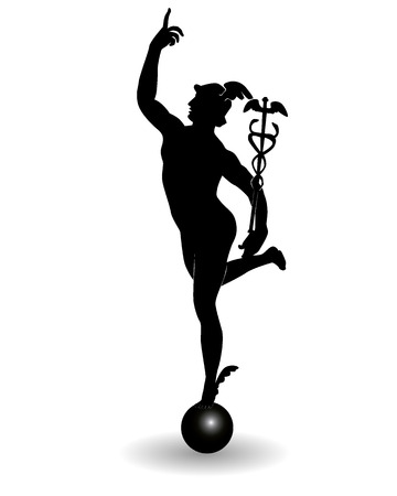 greek gods: Mercury is the god of commerce on a white background Illustration