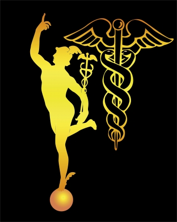 escultura romana: silueta naranja de Dios del comercio de mercurio y varilla sobre un fondo negro