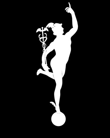 greek gods: white silhouette of god of Mercury on a black background Illustration