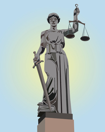 blind justice: The image of a monument of a Themis on a blue background Illustration