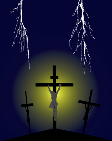 golgotha: Crucifixion on Golgotha against a dark background with lightnings Illustration