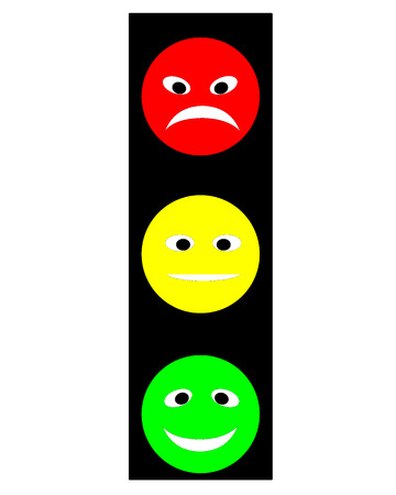Traffic light in the form of multi-colored attractive faces on a white background Vector
