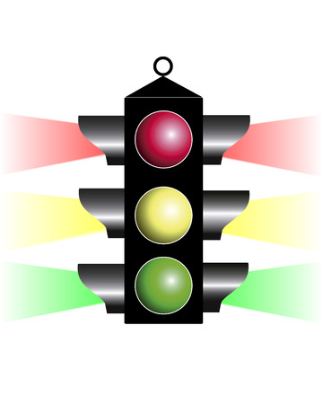 Traffic light with three colors on a white background Stock Vector - 8139982