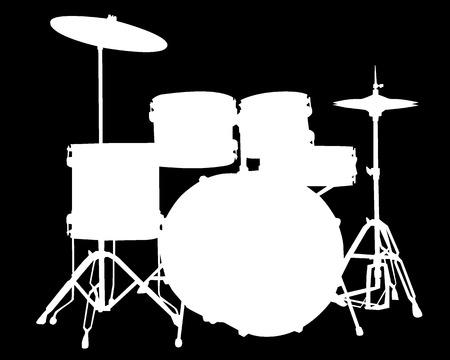 drums: Silueta blanca de tipo tambor instalaci�n sobre un fondo negro Vectores