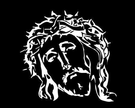 Jesus Christ image on a black background Stock Vector - 8139976