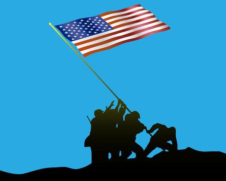 Raising the Flag on Iwo Jima on a blue background