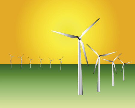 Windanlagen gegen den orange Himmel