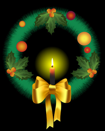 Christmas wreath with burning candle on a black background Vector