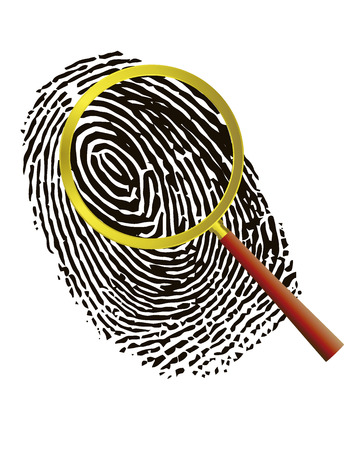 loupe: Fingerprint under a magnifier on a white background