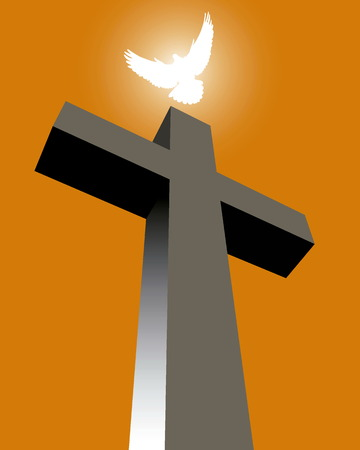 Cross with a white pigeon on an orange background Illustration
