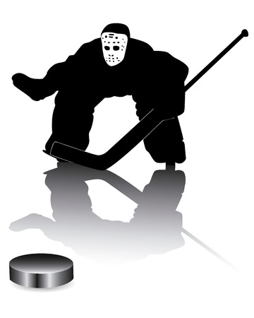 hockey goalie on a white background Stock Vector - 8410311