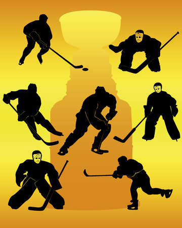hockey players silhouettes on an orange background Vector