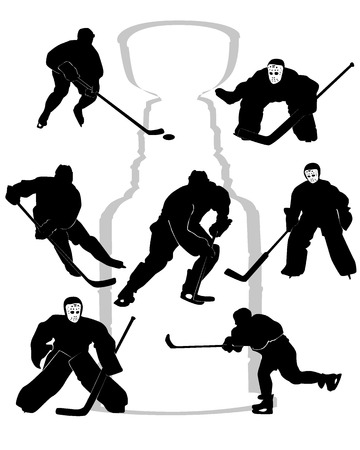 hockey players silhouettes on white background Vector