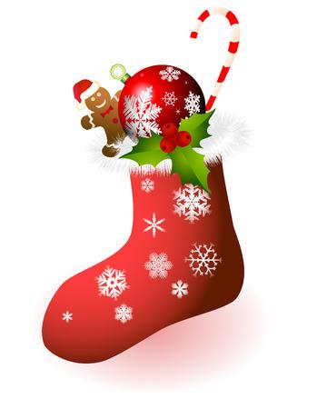 Kerst sokken met geschenken op een witte achtergrond