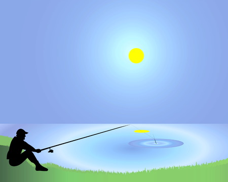 The fisherman with a fishing tackle on the bank of a pond Stock Vector - 8468997
