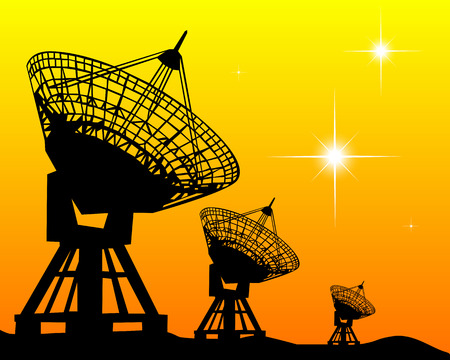 radio telescope: Black silhouettes of radars on an orange background