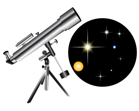 Telescope with a kind of the star sky on a white background Stock Vector - 8502958