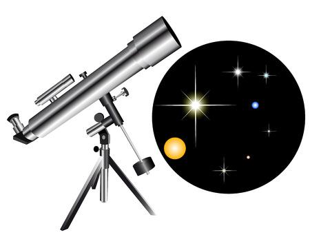 astronomie: Teleskop mit einer Art von der Sterne Himmel auf weißem Hintergrund