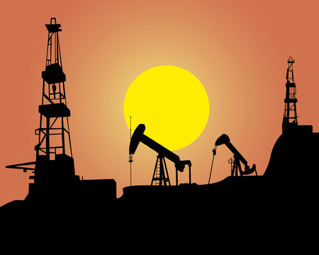 drilling machine: Silhouette of oil workings out on an orange background Illustration