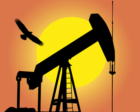 natural gas production: Silhouette of the oil pump against the sun and a flying bird Illustration
