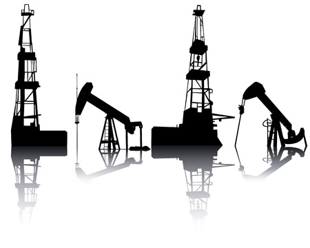 natural gas production: Silhouettes of units for oil recovery on a white background