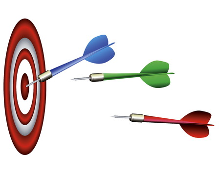 projectile: Multi-colored darts of a darts with a target on a white background