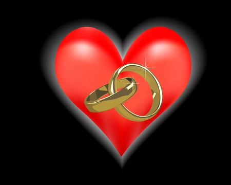 Gouden trouwringen op een zwarte achtergrond en een rood hart