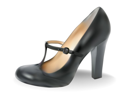 heel strap: Black female shoes on a white background