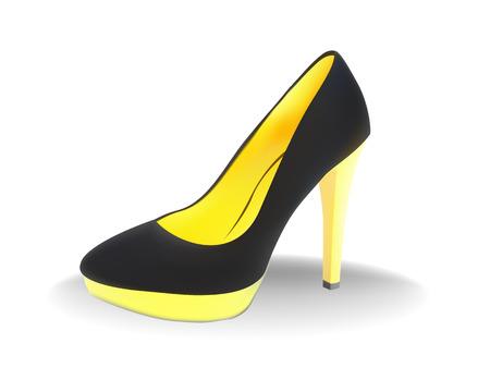 sandalia: Zapatos negros de mujeres con un tal�n amarillo sobre fondo blanco