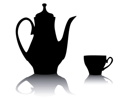 Silhouette of a coffee pot with a cup on a white background Vector